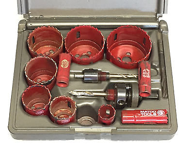 MATCO TOOLS 13 PIECE HOLE SAW KIT HSV13K USED w/Extra Bits - NICE!