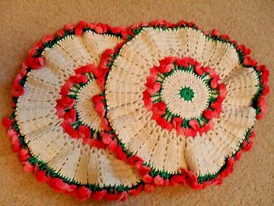 Pr* Matching Vintage*handmade Crochet~Trivets~Heavy*raised Pink Flowers*doilies