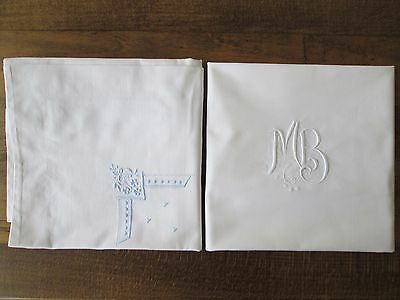 Taies Oreiller Coton Monogramme Mb Broderie