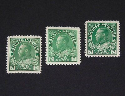 Stamp Pickers Canada 1911-25 KGV Admiral Mint Lot Scott #107 Shades MH VF $90