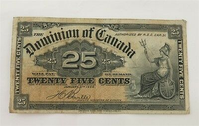 1900 Dominion of Canada 25 Cent Fractional Note