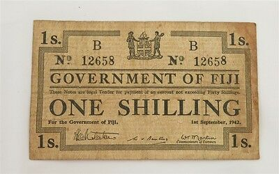 September 1942 Government of Fiji One Shilling Note