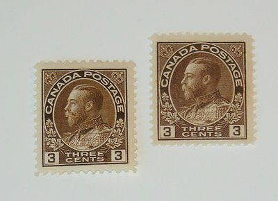 Stamp Pickers Canada 1911-25 KGV Admiral Mint Lot Scott #108, 108c MH VF $80