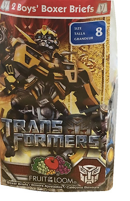 Fruit Of The Loom boys transformers 2 pk Character Boxer Briefs 100%cotton Sz 8