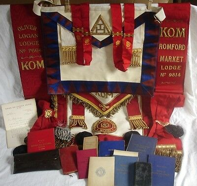 Very Large Collection Masonic Regalia Aprons Cuffs Sashes Books Letter Scarf
