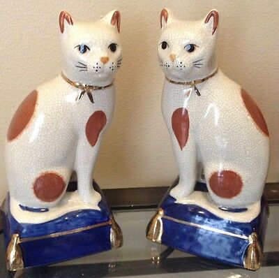 Vintage Fitz and Floyd Cat Figurines FF Japan Label Mid Century Bookends Rare