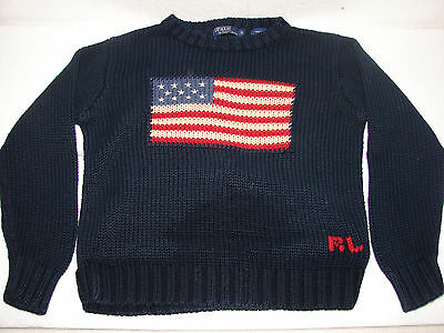 POLO RALPH LAUREN SIZE 6 AMERICAN FLAG 100% COTTON KNIT SWEATER VTG July 4th