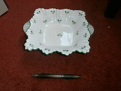 Shelley Decorative Scalloped Edged Green Flower Dish -grt Cond