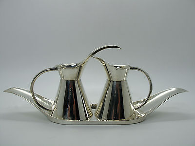 Vintage Sanborns Mexico Sterling Silver Modernist Oil & Vinegar Server with Tray