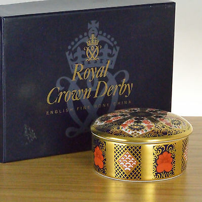 Royal Crown Derby Solid Gold Band Round Lidded Trinket Box - boxed