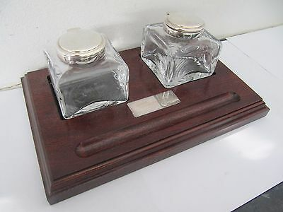 Silver Plated Glass Inkwells & Wooden Stand 'The Pen Shop' Boxed