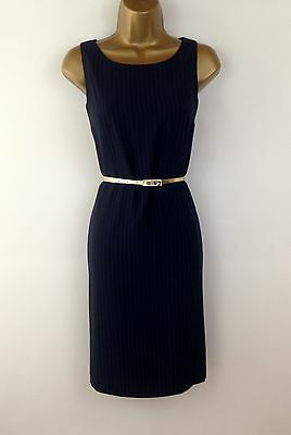 Fabulous Shift Navy Pinstripe Pencil Wiggle Evening Work Dress Party Size 10 12
