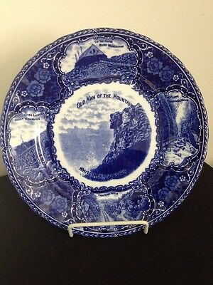 Old Man of the Mountains Historical Plate NH Blue TransferWhite Mountains R&M