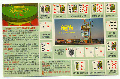 Las Vegas NV Alladin Hotel Blackjack Rules Postcard  - Nevada