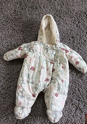 Baby Girls All In One Pramsuit / Snowsuit Age 0-3 months