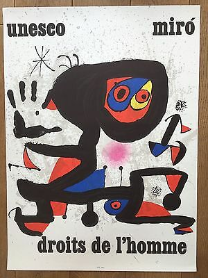 JOAN MIRO Original Lithographie UNESCO Droits de l'Homme 1974