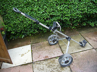 USED  McGREGOR  WIDE WHEELED  TWO WHEEL  FOLDING  GOLF TROLLEY