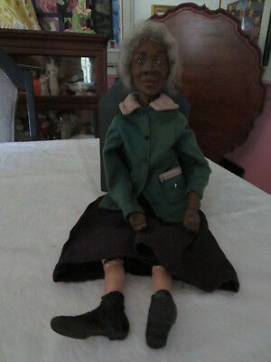 Old Daddy's Long Legs Doll Black Grandma Grandmother With Gray Hair