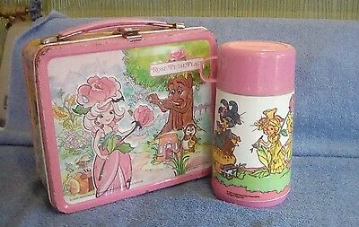 Lunchbox metal embossed 1983 Aladdin box with thermos bottle Rose Petal Place