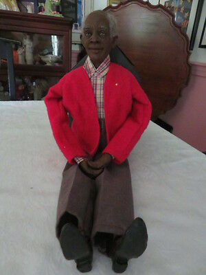 Old Daddy's Long Legs Doll Black Grandpa Grandfather With Gray Hair
