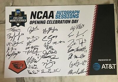2017 OREGON STATE CWS AUTOGRAPH POSTER SIGNED IN OMAHA Beavers OSU