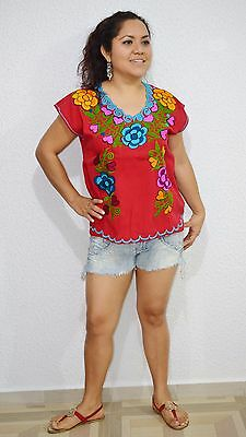 VTG Mexican Embroidered Floral Top Peasant Blouse Hippie Gypsy Shirt Boho S-M