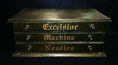 EXCELSIOR Sewing machine Needle Display box, cabinet, Beautiful!