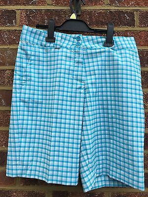 NIKE Ladies  DRI FIT Golf  Checked Shorts  Size 14