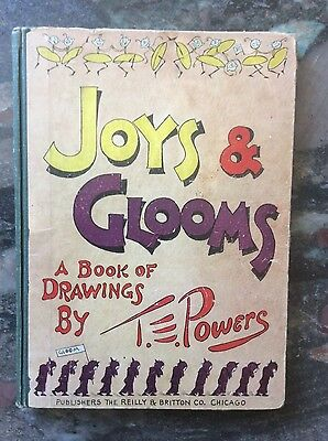 Vintage 1912 Joys & Glooms Platinum Age Comic A Book of drawings by T.powers