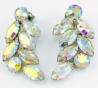 Vintage Signed Couture Thelma Deutsch Ab Crystal Earrings Rhinestone  Mint