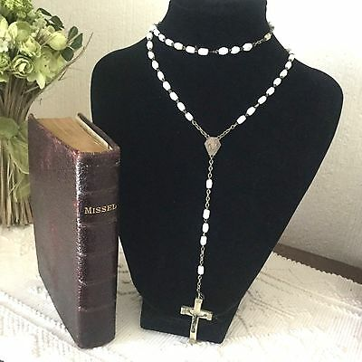 Vintage French Faceted Milk Glass Beads Pretty Crucifix Rosary Lourdes  N27
