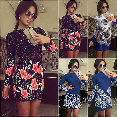 Women Short Mini Dress Long Sleeve Bodycon Casual Cocktail Party Evening Dresses