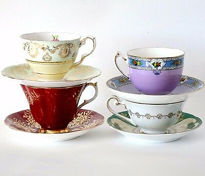 Vintage 4 tea sets tea cup saucer china set Queen Anne Royal Stafford Adderley
