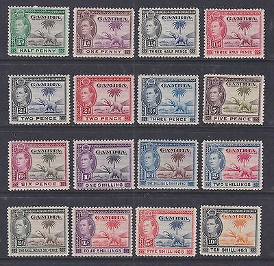 Gambia 1938 Mint MH Full Set Definitives 16 values King George VI Elephant Palm