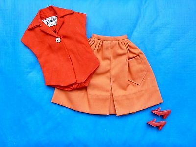 Vintage Barbie Red Body Blouse, Orange Gathered Skirt & Shoes From 1960's