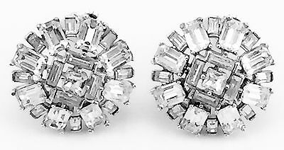 Vintage Signed Trifari 60's Rhinestone Round Silver Clip Earrings All Baguettes