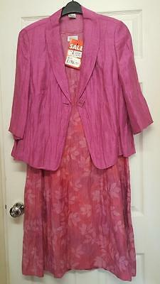 LIBRA Stunning Pink Mother Of The Bride Outfit Dress / Jacket Size 20 New Tags