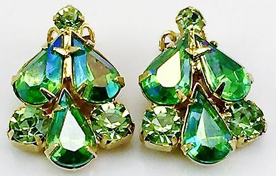 Vintage 1960's Rhinestone Crystal 2 Tone Green Clip On Earrings Gold Tone Mint