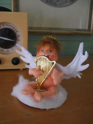 Vintage 2010 Annalee Sitting Angel with Gold Harp-Tag On
