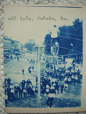 Rppc-Kahoka Mo-High Wire Unicycle Act-Circus Performer?-Cyan Rp-Fourth Of July