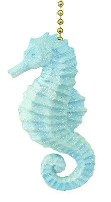 Clementine Design Sparkling Blue Seahorse Ceiling Fan Pull