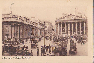RA 27a rare old travelled postcard LONDON THE BANK OF ROYAL EXCHANGE 1910