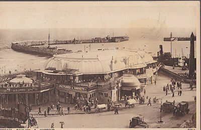 RA 31a rare old travelled postcard 1927 RAMSGATE PAVILLION & HARBOUR