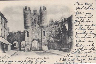 RA 28b rare old travelled postcard 1903 MICKLEGATE BAR YORK with half penny stam