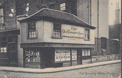 RA 30a rare old travelled postcard  LONDON OLD CURIOSITY SHOP  without stamp