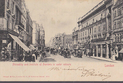 RA 29a rare old travelled postcard 1911 LONDON PICCADILLY AND without stamp