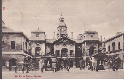 RA 29b rare old travelled postcard 1911 LONDON THE HORSE GUARDS