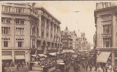 RA 30b rare old travelled postcard 1928 LONDON  OXFORD STREET