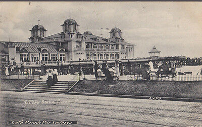 RA 26b rare old travelled postcard PORTSMOUTH SOUTH PARADE PIER SOUTHSEA 1912