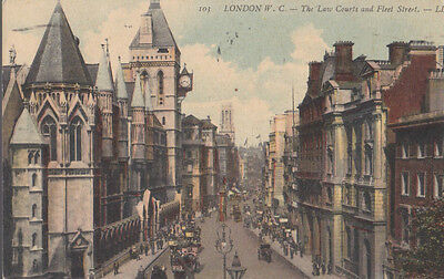 RA 31b rare old travelled postcard 1921 LONDON THE LAW COURT AND FLEET STREET